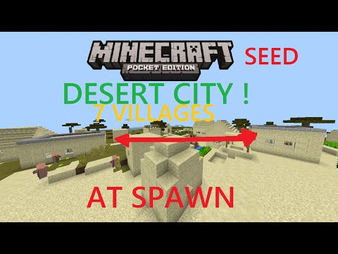 MCPE 1.0.0 - DOUBLE VILLAGE AT SPAWN, SAND CITY SEED ! STRONGHOLD 2 TEMPLES, 7 VILLAGES