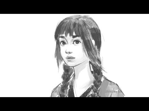 Portrait drawing process [line art]