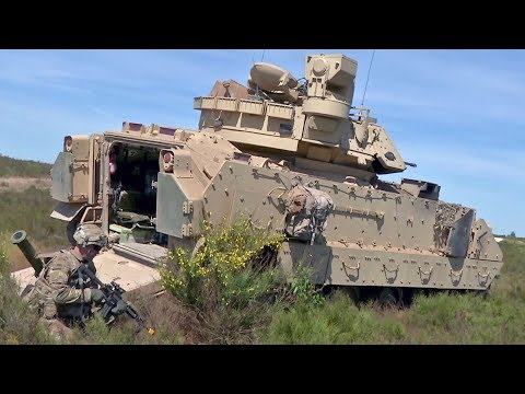 US Army Bradley Fighting Vehicle Crew Showcases Its Capabilities In Poland