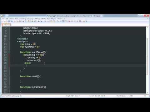 Stopwatch / Timer - JavaScript Advanced Tutorial
