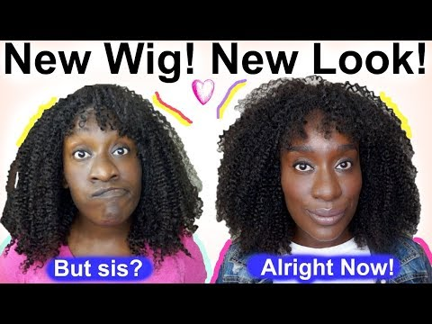 Protective Styles For Natural Hair | Cut & Styling A Curly Wig w/ Bangs to Look Natural