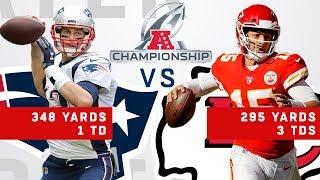 Tom Brady vs. Patrick Mahomes Highlights in the AFC Championship Game