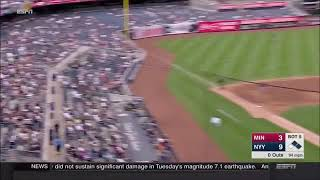 CHILD GETS HIT WITH TODD FRAZIER FOUL BALL LINE DRIVE AT YANKEE STADIUM - Yankees v Twins