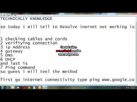Resolve Internet not working issue