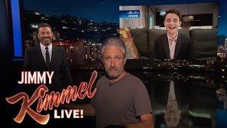 jon stewart crashes jimmy kimmels interview with bar mitzvah kid