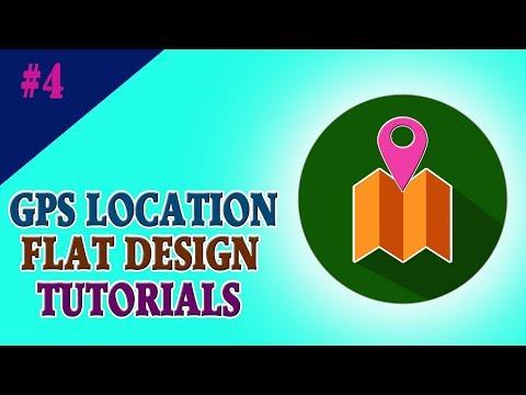 GPS Location Flat Icon Design #4 | UI Design | Photoshop Tutorials