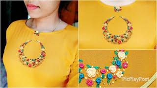 എളുപ്പത്തില് ചെയ്യാം Simple&Elegant Hand Embroidery neck design|passion in fashion