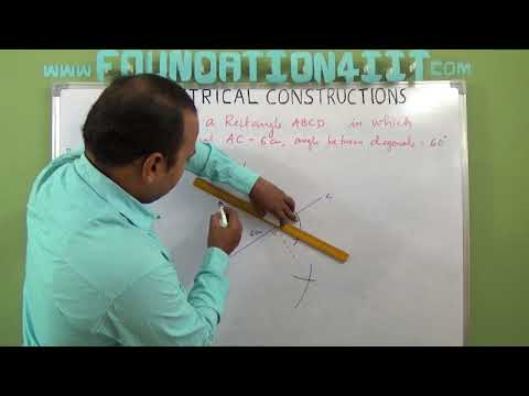 How to Construct a Rectangle When its one diagonal and the angle between the two diagonals are given