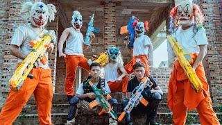 GUGU Nerf War : CID Dragon Nerf Guns Fight Criminal Group SKMAN Mask Crime Successfully Escaped