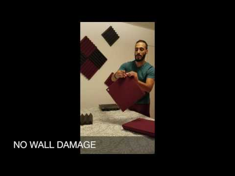 DIY The EASIEST Way - No Wall Damage!  Acoustic Foam Paneling Treatment for Home Studio Recording