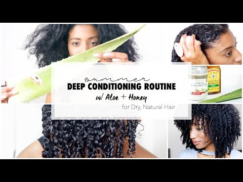 Deep Conditioning Routine for Dry, Natural Hair w/ Aloe Vera + Honey