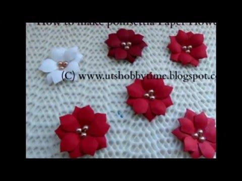 How to make Poinsettia paper flower / DIY paper flower tutorial using EK Success Retro Flower Punch