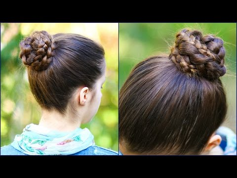 Quick & Easy BRAIDED BUN for School! ★ 2 minute hairstyle ★ Step by Step Tutorial