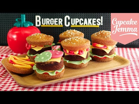 How to make Super-cute Burger Cupcakes!   Cupcake Jemma