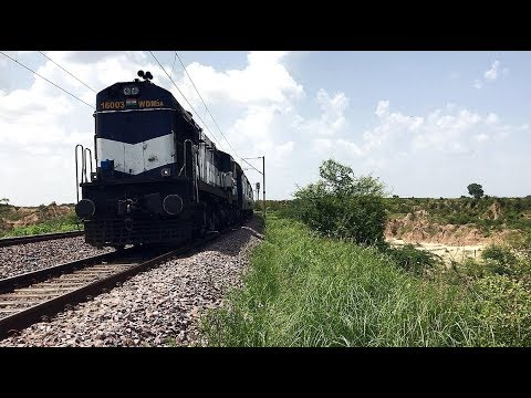 INDIAN RAILWAYS Udaipur Khajuraho Intercity Express with Abu Road Alco chugs hard in Chambal valley