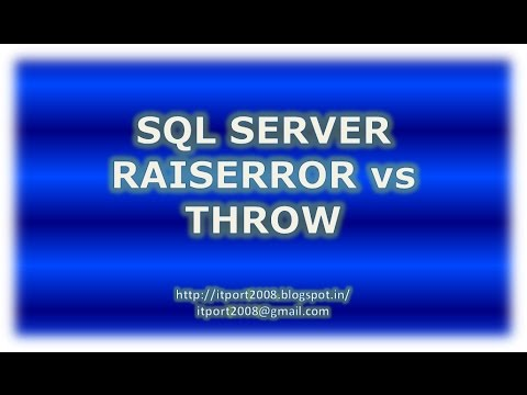 Difference Between Raiserror and Throw in SQL Server