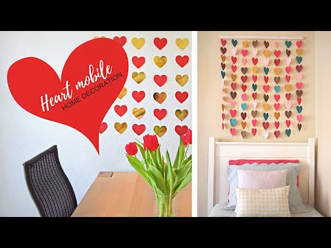 DIY - Mobile Hearts - Paper Wall Home Decor - Easy Tutorial