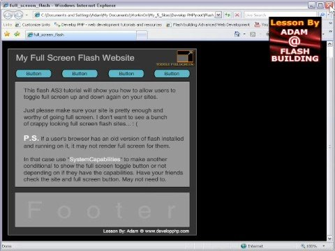 Full Screen Flash AS3 Website Tutorial - retain stage size