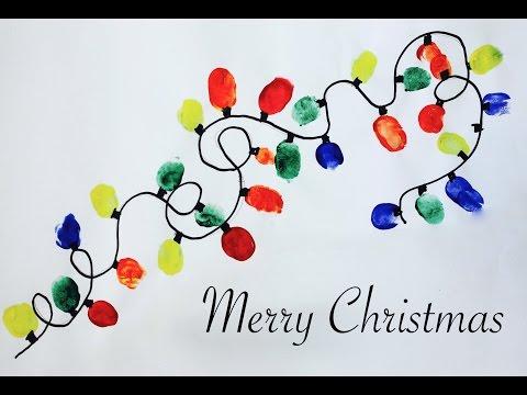 Easy Christmas craft: How to make a thumbprint Christmas lights artwork