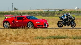 Kawasaki Ninja H2r vs Bugatti Veyron Drag Race 2016   Lamborghini Aventador vs F16 Fighting Falcon