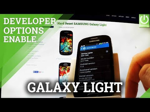 How to Find Developer Options in SAMSUNG Galaxy Light - USB Debugging