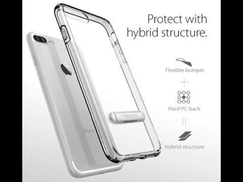 iPhone 7 Plus Case, Spigen Ultra Hybrid S Metal Kickstand Crystal Clear Clear back panel + TPU bumpe