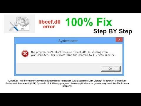 libcef .dll error 100% FIX STEP BY STEP