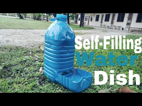 How to Make a Self-Filling Water Dish for Pets. ( diy automatic water bowl for your dog / cat)