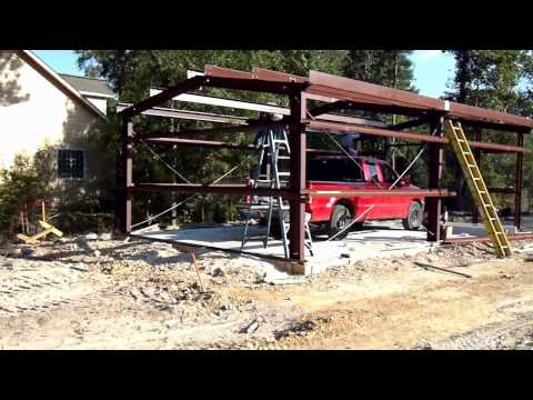 Metal Building Construction- for home storage, shop, garage. Reference view only, no narration.