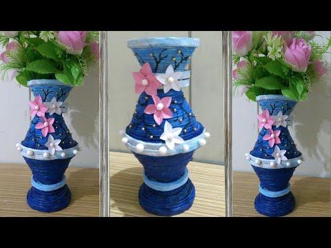 DIY II Amazing Newspaper Flower Vase/Pot  ( Design # 2) II Newspaper Craft