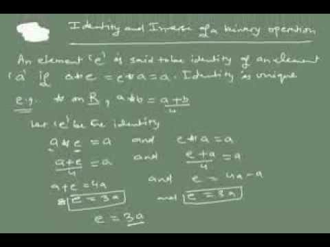 binary operation(identity and inverse)