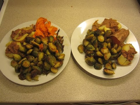 Roasted brussels sprouts marinated with no oil, high carb vegan McDougall style