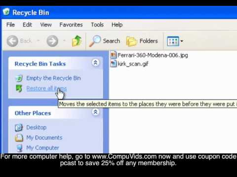 Windows XP - Restoring Data From the Recycle Bin