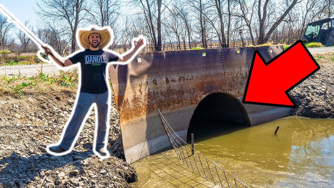 CATFISHING the SEWER TUNNEL at My FARM!!! (Walmart Challenge)