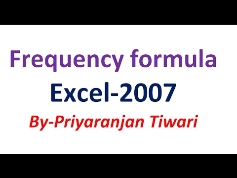 frequency formula in Ms Excel 2007 Hindi