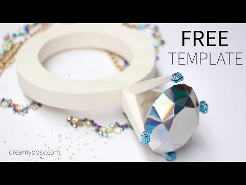 DIY giant diamond ring out of paper, FREE template