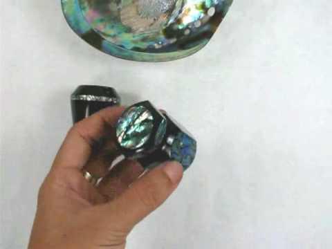 Custom handmade shaving brush from black horn and abalone or mother of pearl.