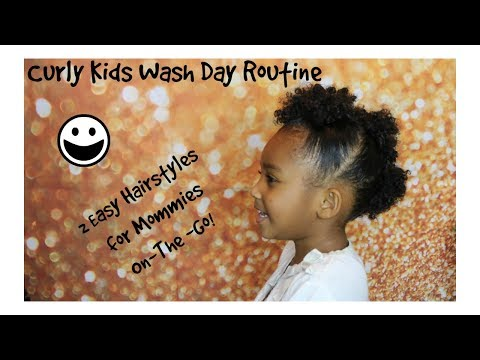NO MORE TEARS ! HOW I WASH/TAKE CARE OF MY KIDS CURLY NATURAL HAIR + 2 EASY KIDS CURLY HAIRSTYLES!