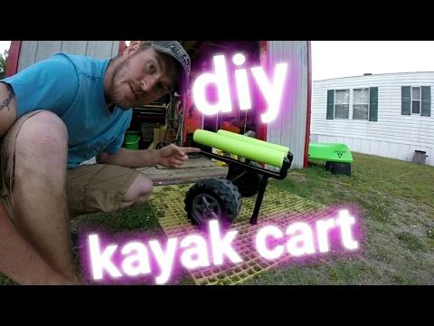 DIY self-standing kayak cart