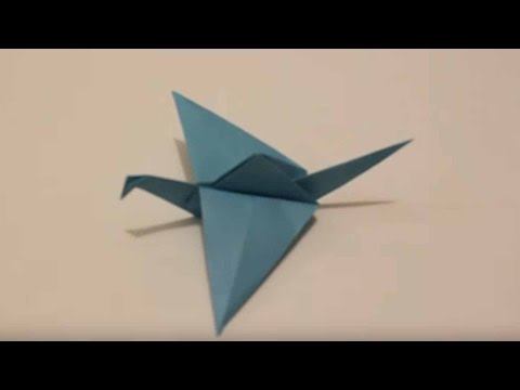 Origami Paper - Blue Crane with Flapping Wings