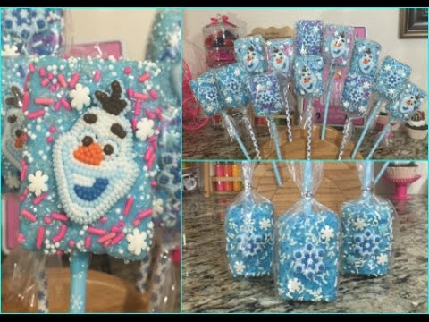 FROZEN Olaf Rice Crispy Treat Pops(How To)