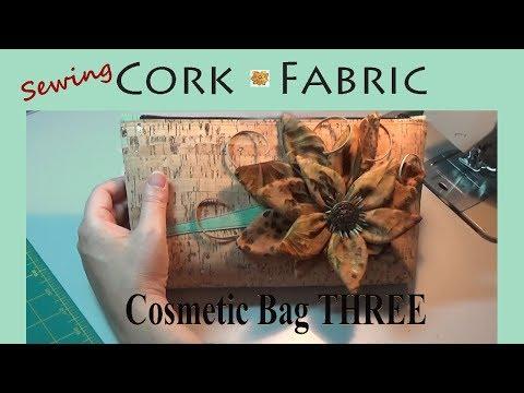 Sewing Cork Fabric   Cosmetic Bag #3   Beautiful, Versatile, & Easy-Going   Zazu's Tutorials