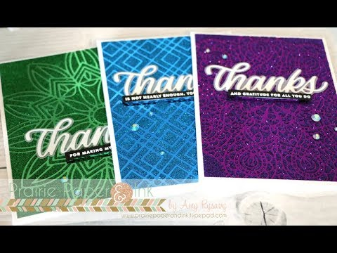SSS Stencilled Thanks | Tonic Mirror Cardstock & Glimmer Pastes