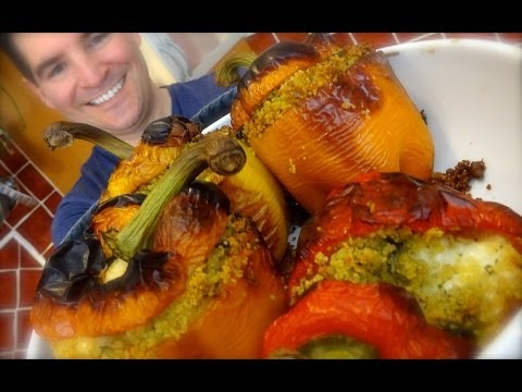 Stuffed Peppers: Cheese, pesto, olives & cous cous filled sweet peppers
