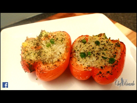 Vegan Stuffed Peppers With Vegetable Rice | Recipes By Chef Ricardo