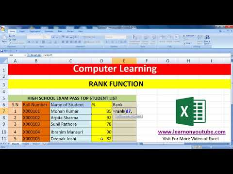 RANK Formula in Excel in Hindi Language