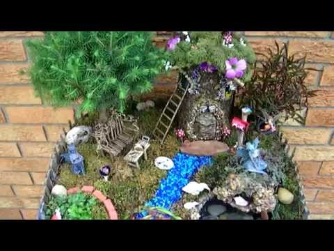 Fairy Garden with Pond and Waterfall 2014 Miniature Fairies