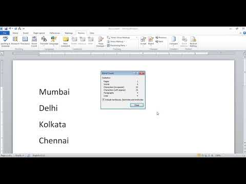 Word Count Option in Microsoft Office Word in Hindi