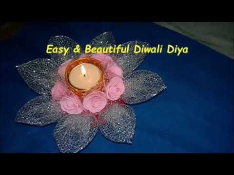 DIY-how to make beautiful decorative candle/diya for diwali at home in just 5 min