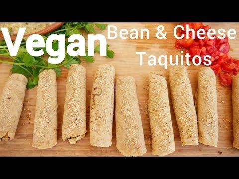 Vegan Bean & Cheese Baked Taquitos - Quick & Easy Recipe!